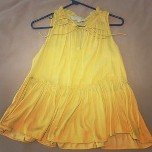 Loft yellow form fitting blouse